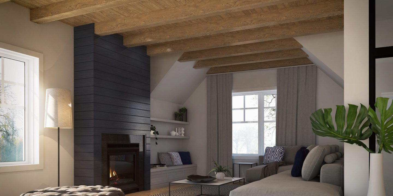 Intérieur 3D modèle Balsa Habitation KYO Salon foyer poutres décoratives